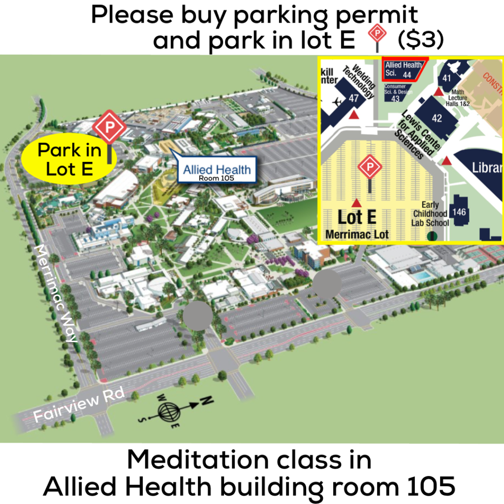 Orange Coast College Parking Map for Meditation Classes
